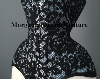 "Custom colour READY TO WEAR sizes 18"" - 26"" Antique blue Black lace overlay tightlacing waist training underbust corset"