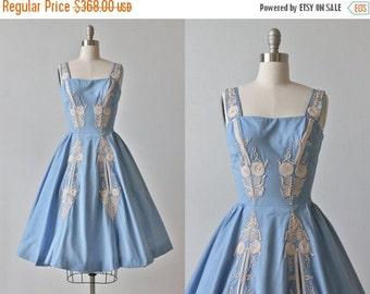 SALE Samuel Winston Dress / 1950s Vintage Dress / 50s Dress / Full Skirt / Blue Bells