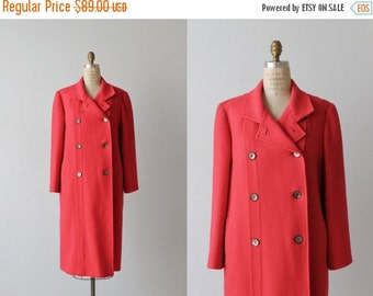 SALE Red Wool Coat / 1960s Coat / Dress Coat / Double Breasted / Berry
