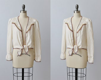 Vintage 1970s Cotton Boho Peasant Festival  Blouse / Boho Top / 1970s Blouse / Cotton / Crochet