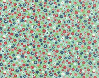 FALL SALE - 2 7/8 yards - Vintage Picnic -  Wildflowers in Aqua (55126-12) - Bonnie and Camille for Moda Fabrics