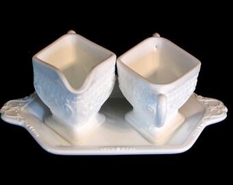 Tiara INDIANA SANDWICH GLASS Sugar & Creamer Tray Set White Milk Glass Opaque Gray Mountain Vintage