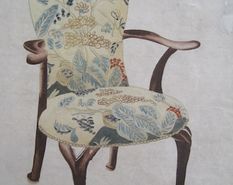 Watercolor Furniture Designer Drawing Arm Chair Early 1900's RARE