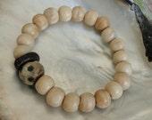 ANTIQUED BONE MALA Beads with Leopard Bead Bracelet, yoga, boho, tribal