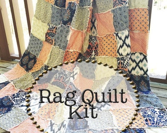 Rag Quilt Kit, multiple sizes available, Botanique fabrics
