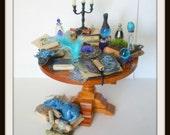 dollhouse Witch miniatures dragon table set ooak wizard herb garden