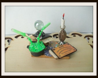 dollhouse miniature 1/6th scale Spell tray Potion Witch ooak Glows in Dark Can be custom made too