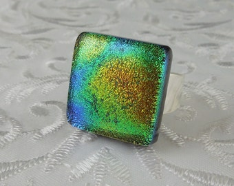 Glass Ring - Fused Glass Ring - Dichroic Fused Glass Ring - Metal Ring - Geekery Jewelry - Dichroic Jewelry - Large Jewelry X4275