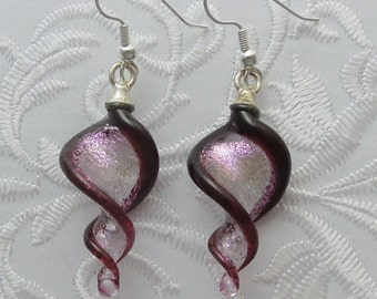 Dichroic Fused Glass Lampwork Twisty Earrings - Christmas Earrings - Christmas Ornament - Christmas Candy - Bohemian Earrings - Boho 1481