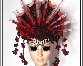Train Spotting.... Syringe Halo Headdress With Cherry Blossoms and Beads Day Of The Dead Macabre Gothic Red and White Medical