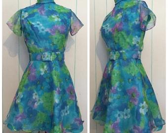 Floral Handmade Mini Dress Size 2