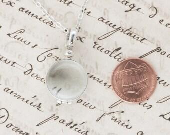 Round Glass Locket Sterling Silver Photo Keepsake