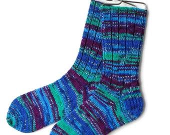 Handknit Socks for Women, Teen Girls, Ladies Socks, wool socks, knitted socks, gift for women, DK weight, blue socks, striped socks