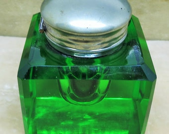 A Vintage Green Glass and Silver Ink Well