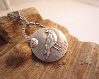 Fine Silver Crow Moon Pendant Feathers Crow Totem Handcrafted OOAK by Leaping Frog Designs
