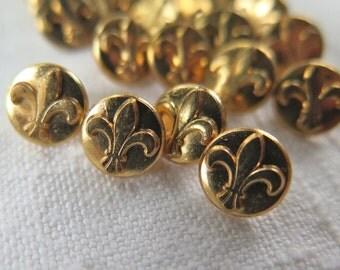 Vintage Fleur de Lys Buttons Gold Tone Metal Set of 22
