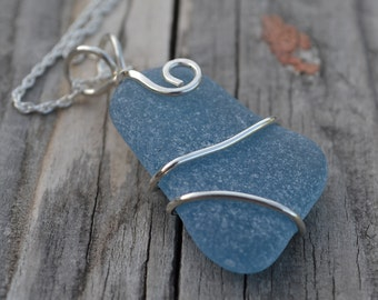 Denim Blue English Sea Glass wrapped in .925 Sterling Silver Wire Pendant/Necklace