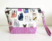 knittng project bag wedge knitting project bag cosmetics bag zippered bag wrist strap - kitties - READY TO SHIP