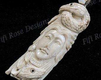 """3 3/4"""" Handcarved Snake Goddess Deer Antler 925 Sterling Silver Pendant"""