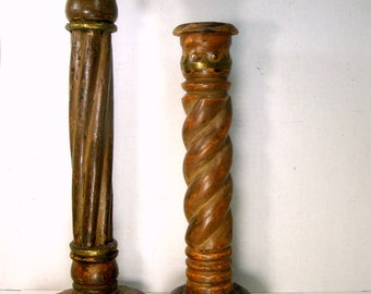 ODD Pair Rustic Wood n Brass Candlesticks, 1980s India, Medieval Man Cave, Castle Lord, Thrones Game Style