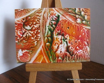 ACEO Tangerine, Forest Green I Abstract Encaustic (Wax) Original Miniature Painting. SFA (Small Format Art)