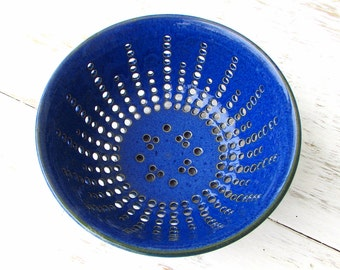 Made to Order Handmade Stoneware Perforated Berry Colander // Fruit Bowl in Vivid Ocean Blue