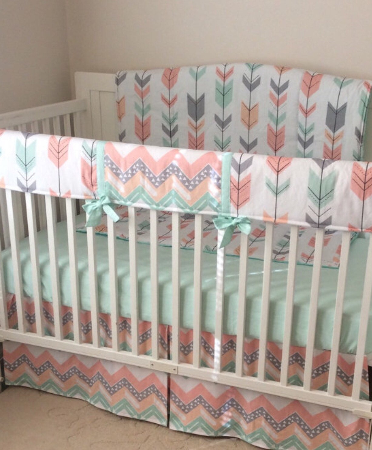 peach gray and mint arrows crib bedding by butterbeansboutique. Black Bedroom Furniture Sets. Home Design Ideas