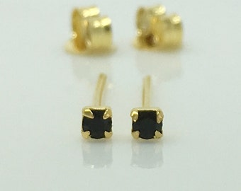 Meteor black diamond cz stud earrings, cartilage earring, men's stud earrings, black cz gold stud earrings, tiny stud earrings, 421P