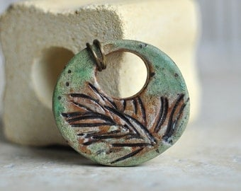 Woodsy Ceramic Pendant with Rustic Moss Turquoise glaze finish, impressed with a real Wisconsin Evergreen