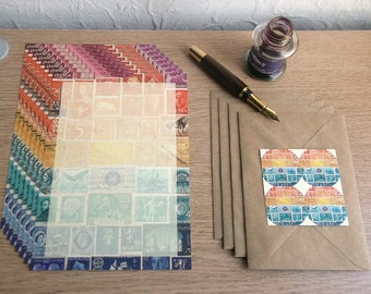 Letter Writing Set | Sunset Orange Blue Stationery Set | Postage Stamp Art, Eclectic Penpal Notepaper | Vintage Postal World Travel Note Set