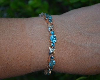 10K Brilliant Blue Topaz & Diamond Bracelet