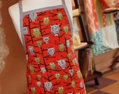 SALE Retro Modern Red and Grey Retro Owl Childs Girls Children's Full Apron...handmade...ready to ship...for the little chef