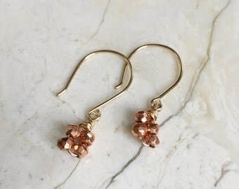 Copper Pyrite Dangles on Gold Fill hooks. Long gold hook. Gold Fill Earrings. Rose Gold. Mixed metal dangles. Modern Minimal. Copper Earring