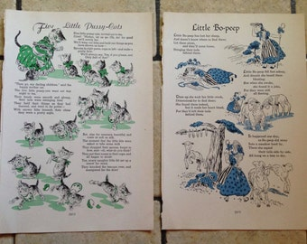 1947 As I was Going to St Ives Nursery Rhymes Vintage Illustrations