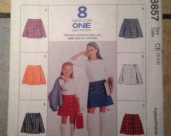 McCall's 8857 Children's Size 3, 4, 5 Skirt Pattern UNCUT