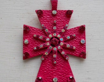 SALE! Large metal pink cross crucifix with rhinestones drag queen jewelry crazyness