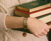 Librarian Gift - Louisa Alcott - She Is Too Fond Of Books - Literary Quote - Brass Cuff Bracelet - Bibliophile - Best Friend Gift - Bookish