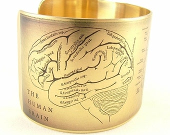 Anatomical Human Brain Brass Cuff Bracelet - Doctor Jewelry - Gift For Surgeon - Medical Anatomy Illustration - Cool Gift Ideas
