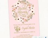Tea Party  Bridal Shower Invitation, Baby Shower Invitation, Tea Party Invite in Blush and Gold