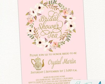 Tea Party  Bridal Shower Invitation, Baby Shower Invitation, Tea Party Invite in Blush and Gold