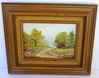 Vintage Small Wooden Framed Landscape House Barn Farmhouse Road Trees Painting Signed Councilor