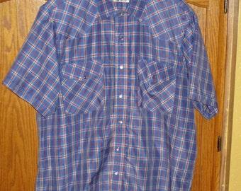 Vintage Pearl Snap Shirt XL Large Plaid CrazyCowboy Western Shirt Short Sleeve Western Rockabilly Shirt