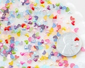 Tiny Heart Cabochons - 3mm Tiny Pastel Pearl Heart Plastic Flatback Resin Cabochons - 500 pc set