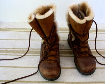 Dansko vintage leather shearling wool lace up winter boots size 6