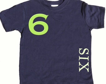 6th Birthday T shirt Boys Sixth Birthday Shirt by Mumsy Goose  Number Six Shirts Any Age Birthday Shirt