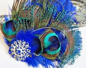 Royal Blue Ostrich Peacock Feather Hair Clip