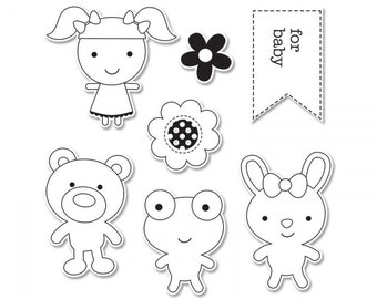 Sizzix Framelits Dies with Stamps - Baby Girl - Doodlebug Designs