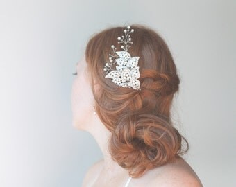 Bridal hair comb, silver rhinestone brooch and crystal spray fascinator, dramatic yet delicate wedding piece, wire wrapped beaded comb