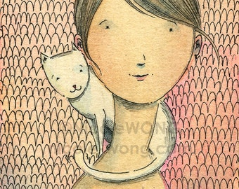 Original ACEO Watercolor Painting and Ink Drawing -- Portrait with White Cat