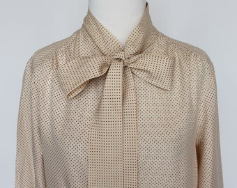 70's Blouse with Bow /  Polka Dot Blouse / Beige & Brown / Medium